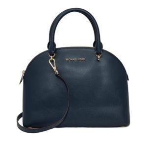 Michael Kors Large Emmy Leather Dome Satchel handbag Navy